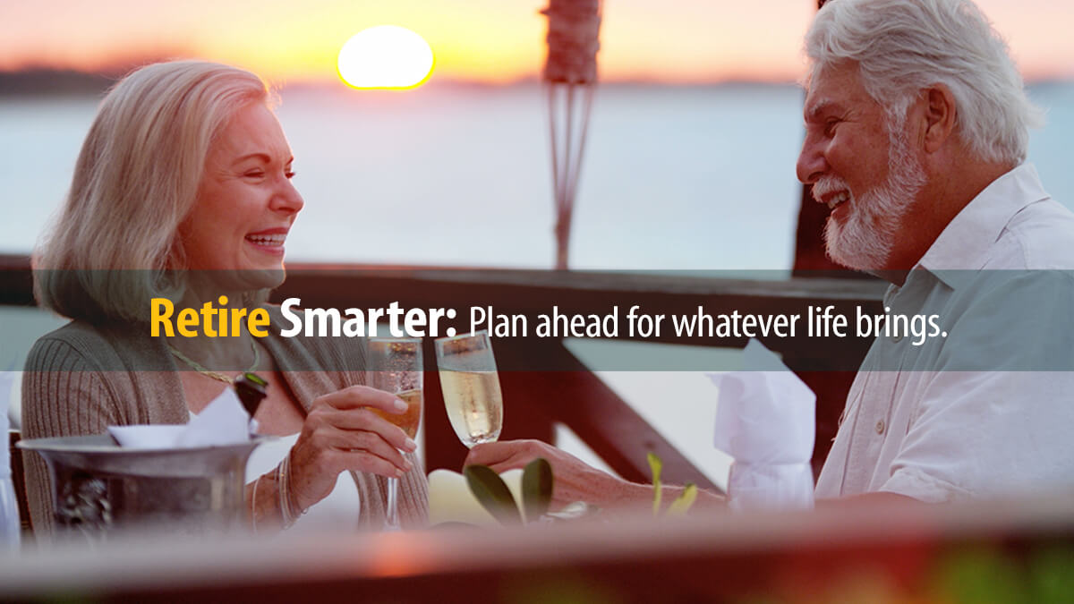 Retired couple with drinks at sunset can relax by managing their funds well during retirement.